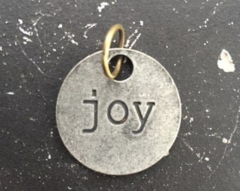 Joy Metal Charm / Joy Tagword / Industrial Jewelry / Jewelry Findings