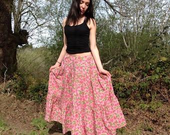 Boho chic Skirt, womens skirt, gypsy skirt, super twirly, handmade, free size, plus size, juniors skirt