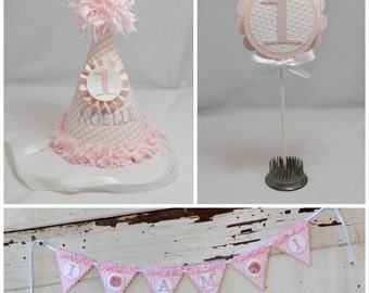 Pink Gingham Smash Cake Photo Props- Girl 1st Birthday- Personalized