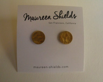 Brass Round Geometric Circle Stud Earrings