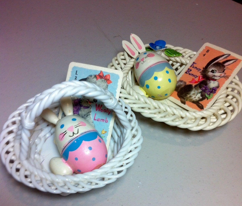 2 ceramic porcelain vintage Easter baskets with Easter eggs