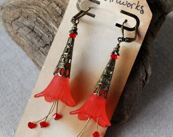 Vintage Styled Long Flower Earrings in Red with Swarovski Crystal