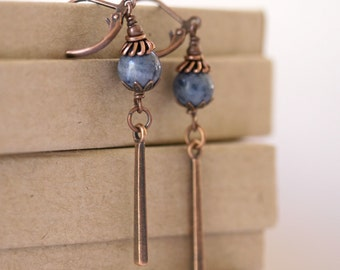 Denim Blue Coral Long Antiqued Copper Dangling Bar Boho Style Earrings