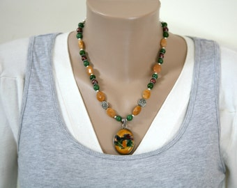 Sterling Silver Dichroic Glass Pendant, Canadian Jade, Pearl and Yellow Jade Gemstone Necklace