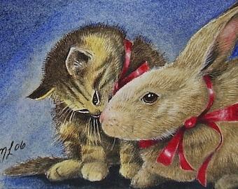 Bunny Rabbit and Kitten Art by Melody Lea Lamb ACEO Print #131