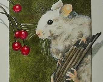 Little White Mouse and Berries Art by Melody Lea Lamb ACEO Print #452