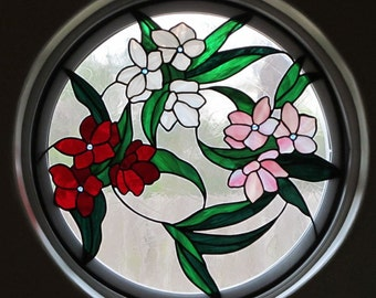 Oleander Trio Stained Glass Window Panel