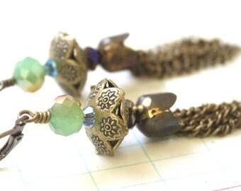 Jade Green Antique Brass Orb and Tassel Earrings NeoVictorian Old World Romantic Steampunk
