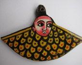 Ethiopian hand painted icon pendant, Ethiopian pendant, icon pendant, silver pendant, hand painted jewelry