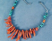 Turquoise Branch Coral Necklace, Choker or Anklet Stainless Steel or Sterling Silver Chain