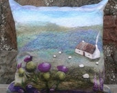 Cushion Digitally Printed with Felt Landscape Thistle Bothy