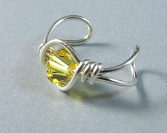 Sterling Silver Ear Cuff Yellow Swarovski Crystal