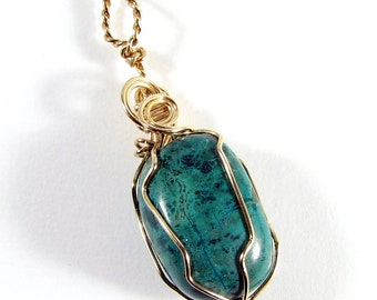 Chrysocolla and 14k gold filled wire wrapped pendant