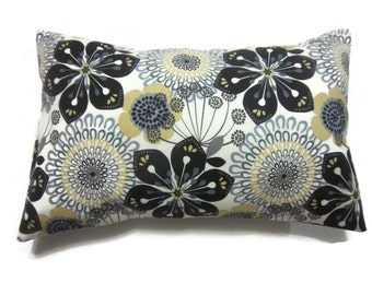 Decorative Pillow Cover Modern Floral Design Black White Yellow Gray Lumbar Same Fabric Front/Back Toss Throw Accent Cover 12 x 18 inch