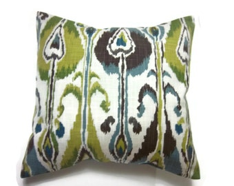 Decorative Pillow Cover Blue Green Brown Chartreuse Natural Ikat Design Same Fabric Front/Back Toss Throw Accent 18x18 inch x