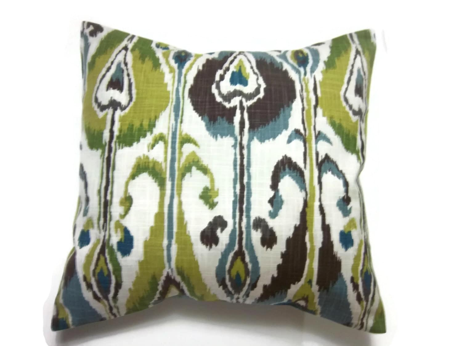 decorative pillow cover blue green brown chartreuse natural. Black Bedroom Furniture Sets. Home Design Ideas