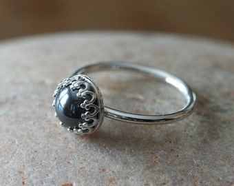 Hematite Ring • Gallery Bezel • Sterling Silver Gemstone • Crown Princess Ring • Size 2 to 15 • Stacking Ring
