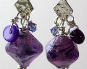 IMJ Glow-in-the-Dark Purple Lampwork, Swarovski, Shell and Hammered Sterling Silver Dangle Earrings