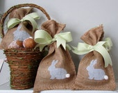 Easter Bunny Burlap Treat Bag w/Ribbon