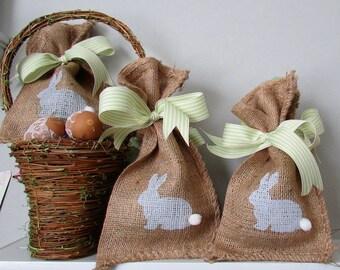 Easter Bunny Burlap Treat Bag w/Ribbon