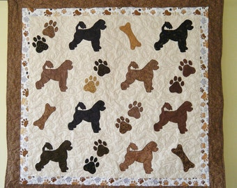 Portuguese Water Dog -  quilt throw size  -  55 x 52 inches