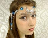 Moon Goddess Circlet, Silver and Ocean Blue Headpiece, Elven Headpiece Circlet, Ocean Goddess, Moon Goddess Headpiece, Headchain, Larp