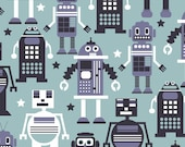 Autobots Light Blue Fabric by Maude Asbury - Robots - The Planet Buzz Collection - Blend Fabrics / Premium Cotton Quilting Fabric One Yard