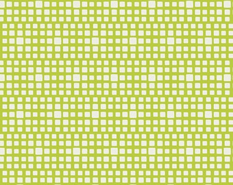 ON SALE Squared Elements in Lime Green - by Pat Bravo - Art Gallery Fabrics - Premium Cotton Quilting Fabric - One Yard