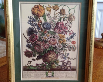 12 Months of Flowers - March floral print 8x11 engraved by H Fletcher