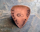 Hand Stamped Personalized Guitar Pick - Custom Copper Guitar Pick, I Love You More, Hand Stamped, Mens Gift, Musical Gift, Wedding Date