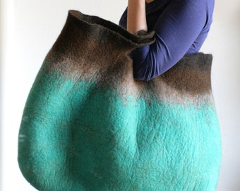 EXTRA LARGE Reversible Teal Brown Sturdy Everyday Art Bag / Carryall / Tote / Basket / Shopping / Market / Picnic / Handmade / Wearable Art