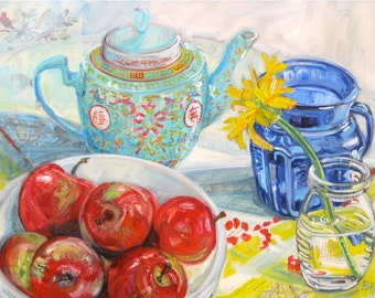 Original mixed media still life painting on canvas by Polly Jones