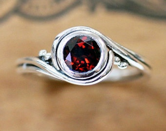 Garnet ring silver, unique red garnet ring, january birthstone ring, swirl ring, artisan ring recycled sterling silver pirouette custom made