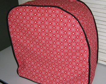 Mixer cover for Kitchen aid mixers or other brands in red, cream and black