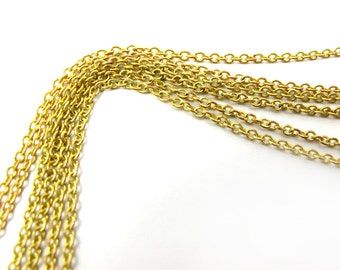 Vintage Yellow Brass Cable Chain Necklaces (16 inches) (4X) (C607)