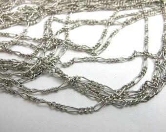 Rhodium Plated Figaro Curb Chain (4 Feet) (C602)