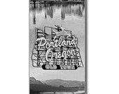 Oregon Landmarks Black and White Digital Painting