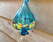 BRIGHT ! Hummingbird Feeder - Turquoise Blown Glass