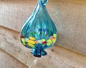 BRIGHT ! Hummingbird Feeder - Turquoise Blown Glass