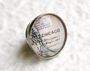 Chicago Map Tie Pin Tie Tack Lapel Pin - YOU pick from 25 maps - Also featuring Evanston, Hyde Park, and more