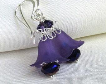 Purple Lucite Flower Earrings Swarovski Purple Velvet & Czech Metallic Crystals Floral Handmade Jewelry Gift for Her