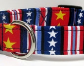 Stars and Stripes Red White and Blue Printed Handmade Dog Collar