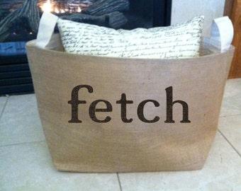 FETCH,   lined burlap dog toy basket , burlap storage tote