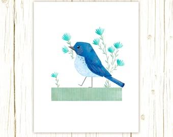 Mountain Bluebird Print -- bird art -- blue bird art 52 birds stephanie fizer coleman illustration