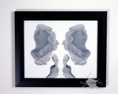 Grey Ink blot art inspired by Rorschach test ORIGINAL 8x10