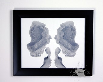 Grey Ink blot art inspired by Rorschach test ORIGINAL 8x10
