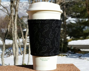FREE SHIPPING UPGRADE with minimum -  Fabric coffee cozy / cup sleeve / coffee sleeve  / teacher gift / Treble Clef Music black on black