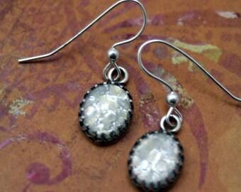 Little Star White Fire Opal Sterling Silver Earrings Enchanting Mystical Harlequin Glass