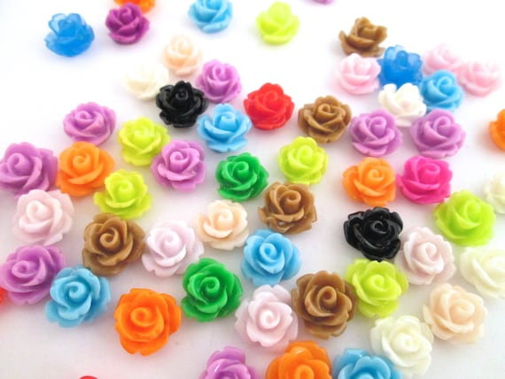 24 assorted 10mm rose cabochons (PAIRS)