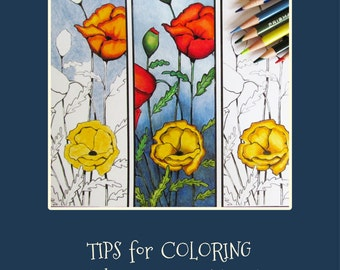 Coloring for Adults, How to Color with Color Pencils, Tips for Coloring. PDF Art Tutorial, Instant Download